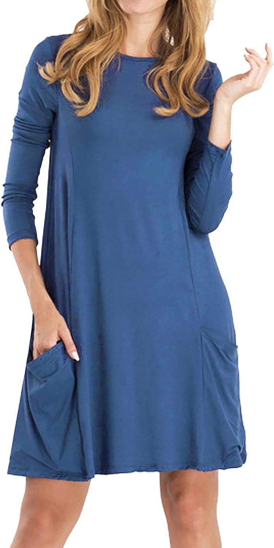 Womens Casual Loose Crewneck Dress Long Sleeve Pockets Blouse Dresses Comfy T-Shirt Dress at Home(M-3XL)