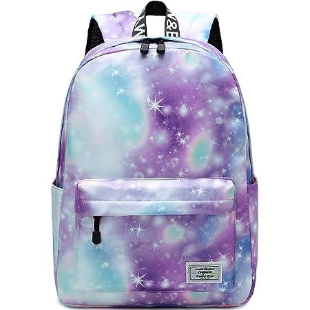 Galaxy Schulrucksack, Mygreen Unisex Schultasche für Mädchen Campus Collection Wasserdichter Rucksack Grün Lila