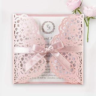 Rosa Brillante Invitaciones de boda Tarjetas con cinta y sobres La tarjeta lo invita a una fiesta de compromiso de Quincea...