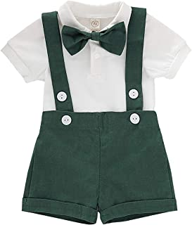Baby Boys Gentleman Outfits Set Short Sleeve Romper with Bowtie and Overalls Bib Pants Wedding Tuxedo Clothes