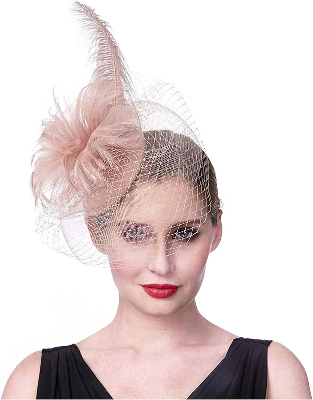 Women's Fascinators Hat with Veil Feathers Kentucky Tea Party Headband Cocktail Wedding Pillbox Hat Flapper Headpiece