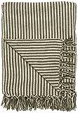 IB Laursen Schlichte Baumwolldecke mit Fransen Plaid Natur Decke Tagesdecke Creme/Olive Streifenmuster 160x130 cm