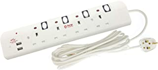 Innoteck DS-2305 4Way 5Meter 13A 250V Individual Switched Extension Lead with Dual USB Ports 3.0A Total (1A+2A) - White