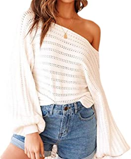 Womens One Shoulder Pullover Sweater Lantern Sleeve Loose Fit Jumper