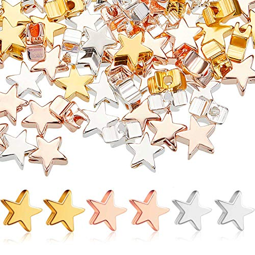 150 Pieces Star Shape Spacer Beads Jewelry Charm Loose Beads Alloy Small Hole Star Beads for DIY Jewelry Crafts Making (Gold, Silver, Rose Gold)