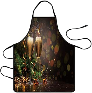 Iusun Merry Christmas Apron Decoration Waterproof Costume Ornament Lightweight Extra Long Extended Coverage Kitchen Dinner Party