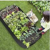 Grow Bed Large Planting Bag Raised Planter Container Square Divided Garden Bed 6 Grids for Multi Vegetables Flowers Garden Dark Green Planting Bags