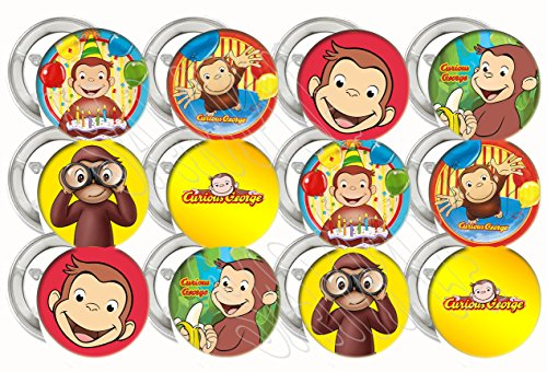 """Curious George Party Favors Supplies Decorations Collectible Metal Pinback Buttons, Large 2.25"""" -12 pcs"""