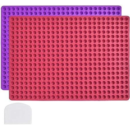 POKIENE Moule de Cuisson en Silicone Antiadhésif avec Corne, Demi-Sphère de 1,2 CM Diamètre, Réutilisable Tapis en Silicone pour Choux Biscuit Chocolat Croquette de Chiens - 468 Trous Rouge et Violet