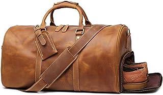 Leathfocus Leather Travel Luggage Bag, Mens Duffle Retro Carry on Handbag (Brown)