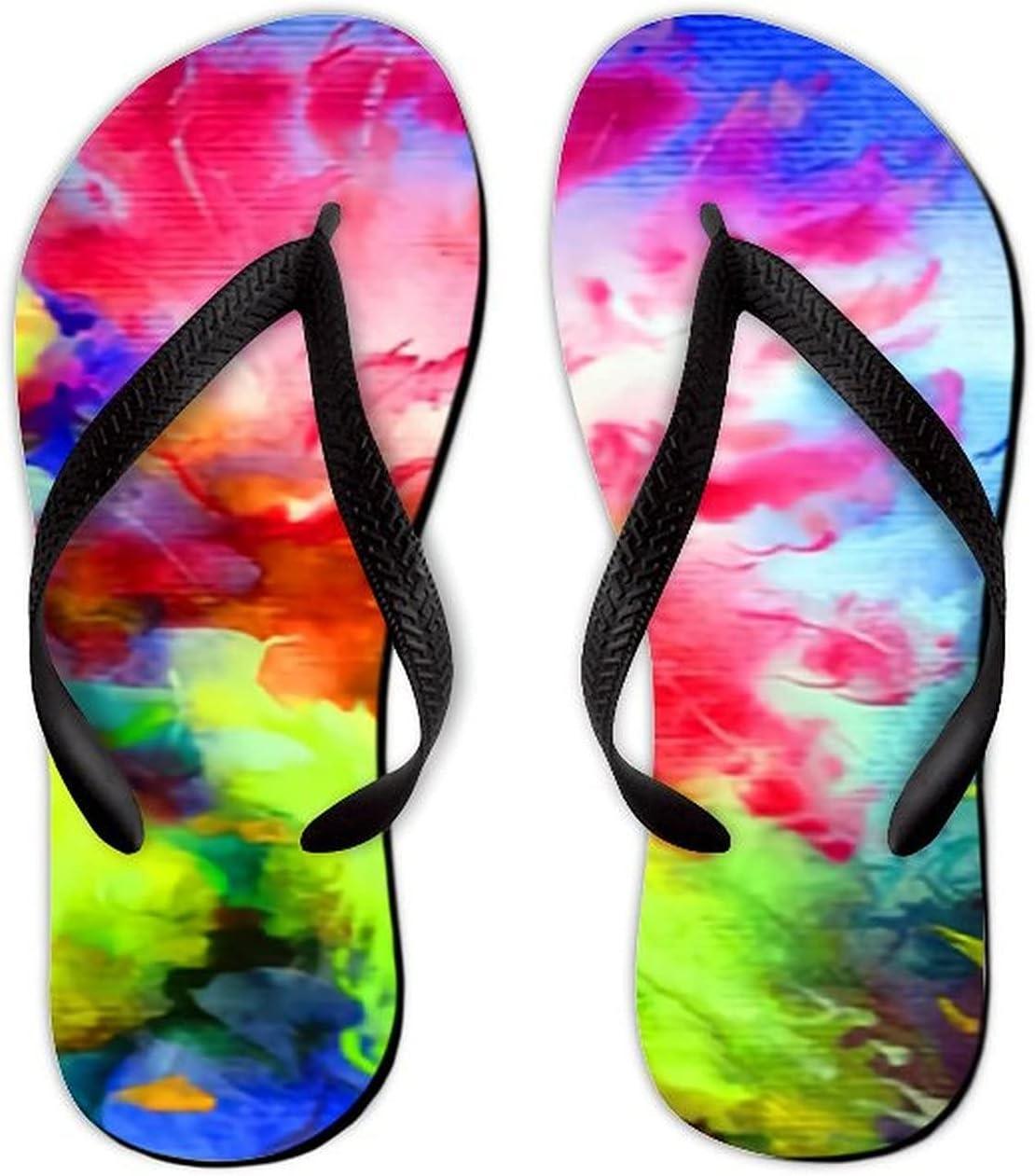 UTF4C Summer Flip Flops for Men Women Watercolor Bright Colorful Soft Lightweight Non Slip Sandals for Shower Beach Pool Bathroom Flat 10