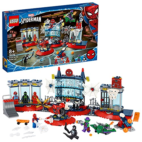 LEGO 76175 Marvel Spider-Man Ataque a la Guarida Arácnida, Playset con Superhéroes Spider-Man, Duende Verde y Venom