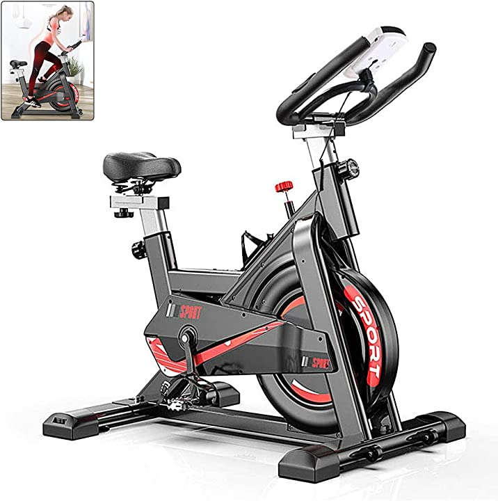 Cyclette da interni con manubrio e sellino regolabile funzione frequenza cardiaca, display lcd, 149,7 kg T5008-Sport Bike