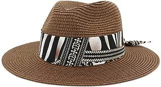 Outdoor Bucket Sun Hat Women Summer Straw Sun Hat Jazz Two-Tone Ribbon Panama Beach Hat Fedora Hat Travel Outdoor Vacation Sun Hat (Color : Coffee, Size : 56-58CM)