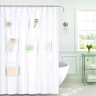 GoodGram Water Resistant Fabric Shower Curtain Liner with Pockets - Assorted Colors (White)
