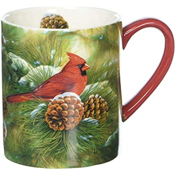 Amazon Com Lang Cardinal In Pines Tea Cup Set Coffee Cups Mugs