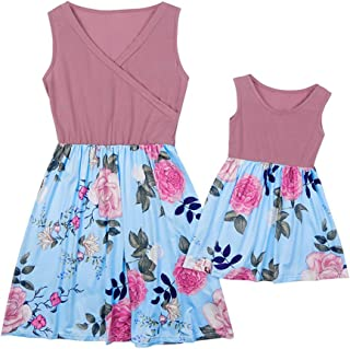 Weixinbuy Women Baby Girls Summer Dresses Sleeveless Floral Flower Dress for Mother and Daughter