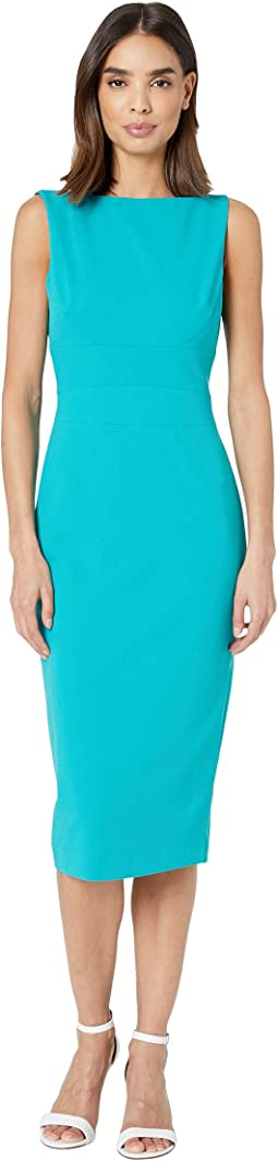 Sleeveless Crepe Sheath Dress with Boat Neck