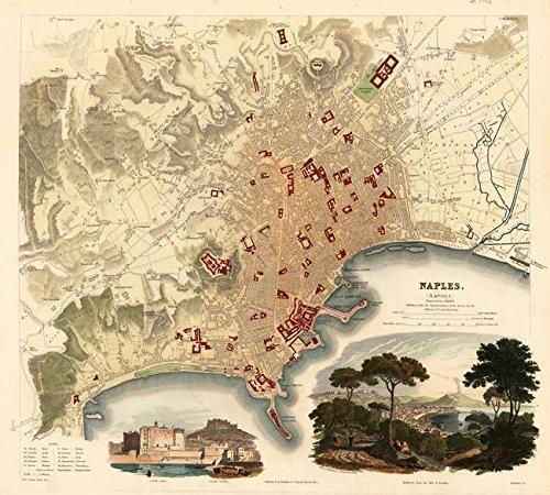 Wall Art Print entitled Vintage Map Of Naples Italy (1835) by Alleycatshirts @Zazzle | 9 x 8