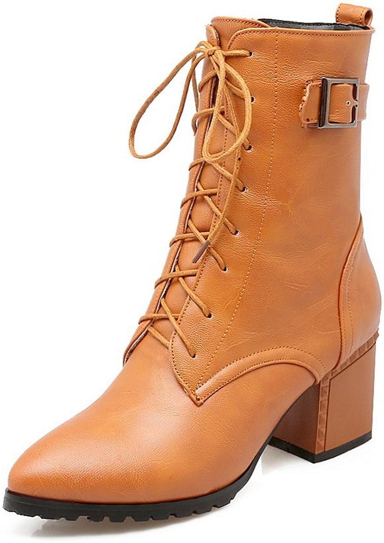 BalaMasa Womens Zipper Metal Buckles Solid Urethane Boots