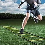 GHB 6M Scala Agilità Scaletta per Allenamento Calcio Esercizio Velocità Fitness 12 Piolo con Custodia Portatile Regolabile Giallo
