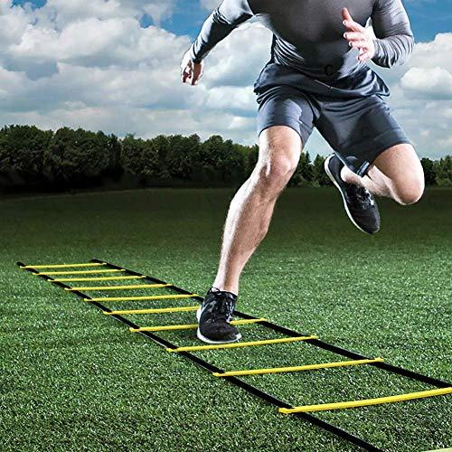 GHB 6M Scala Agilità Scaletta per Allenamento Calcio 12 Piolo Speed Ladder Esercizio velocità Fitness con Custodia Portatile Regolabile Giallo