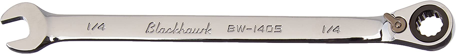 Blackhawk By Proto BW-1405 12 Point 1/4-Inch Full Polish Combination Reversible Ratcheting Wrench