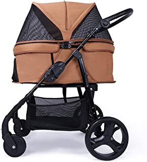 Pet stroller Pet Stroller,Collapsible Pet Stroller,Four-Wheeled Pet Stroller, Pet Stroller,for Small and Medium Pets (Color : Khaki)