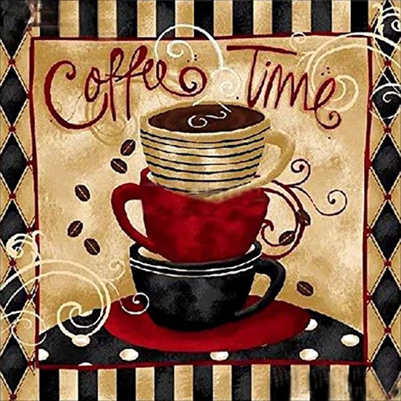 Full Drill Diamond Painting Coffee Time by Number Kits,5D DIY Diamond Embroidery Crystal Rhinestone Cross Stitch Mosaic Paintings Arts Craft for Home Wall Decor (50X50CM)