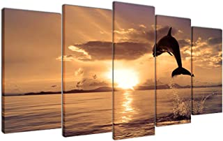Multicolour Art Dolphins Leaping in Sunset Canvas Print Picture for Living Room Decoration Stretched 5 Panels XLarge Painting Wall Art Picture Print on Khaki Canvas- High Definition Modern Home Decor