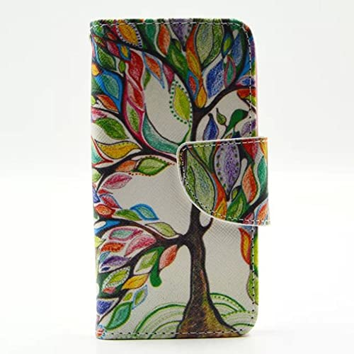 iGrelem® iPhone 5 5s Leather Case, Wallet Case with Stand for Apple iPhone5, Colorful Pattern Design PU Leather Cover for iPhone5s (Tree, Multicolor)
