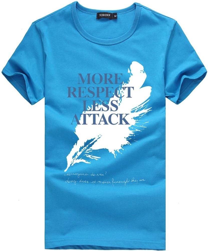 LIWEIKE Camiseta de manga corta con estampado de plumas y cuello redondo para hombre (color: azul cielo, talla M: M)