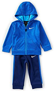Nike Boy`s 2 Piece Therma-FIT Zip Hoodies & Pants Set (Blue Void(66E230-U9J)/White, 12 Months)