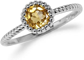 Natural Citrine White Gold Plated 925 Sterling Silver Stack Stackable Solitaire Ring