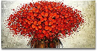 Orlco Art Pintado a Mano Paisaje Abstracto Paleta Cuchillo Rojo Cherry pétalos Paisaje Pintura al óleo Lienzo Familia Pared salón Arte, Lona, Rojo, 24x48inch(60x120cm)