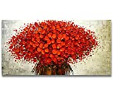 Orlco arte pittura a olio, ciliegio rosso fiore di ciliegio e albero blu, dipinto a mano, pittura astratta di grande formato, pittura a olio decorativa su tela, tela, fiori rossi, 24 x 48 pollici