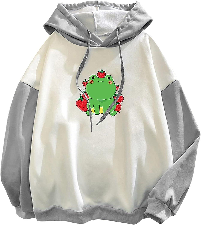 TAYBAGH Cute Hoodie for Women,Womens Teen Girls Colorblock Frog Printed Long Sleeve Hoodie Sweatshirt Casual Blouse Tops