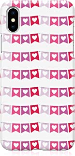 Loud Universe Case for iPhone XS Wrap around Edges Valentines Day Couples Love Heart Flags Pattern Sleek Design Heavy Duty...