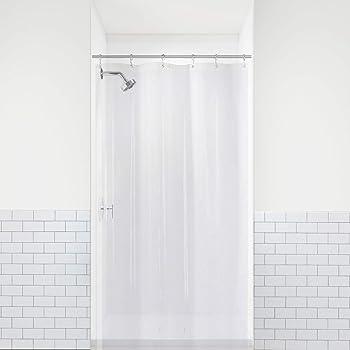"LiBa PEVA 8G Small Bathroom Shower Stall Curtain Liner, 36"" W x 72"" H Narrow Size, Clear, 8G Heavy Duty Waterproof Shower Stall Curtain Liner Anti-Microbial Mildew Resistant"