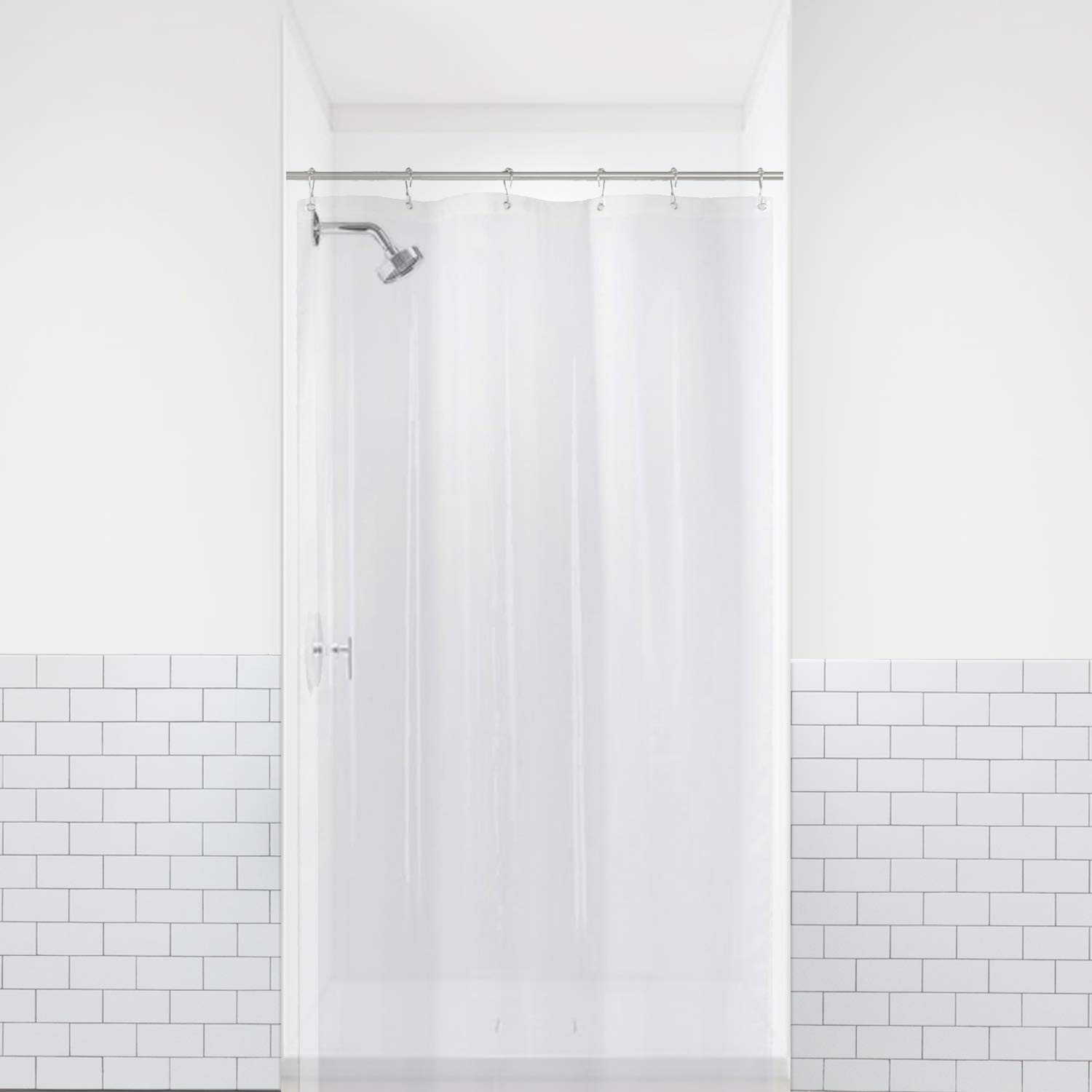 LiBa PEVA 8G Small Bathroom Shower Stall Curtain Liner, 36 W x 72 H Narrow Size, Clear, 8G Heavy Duty Waterproof Shower Stall Curtain Liner Anti-Microbial Mildew Resistant