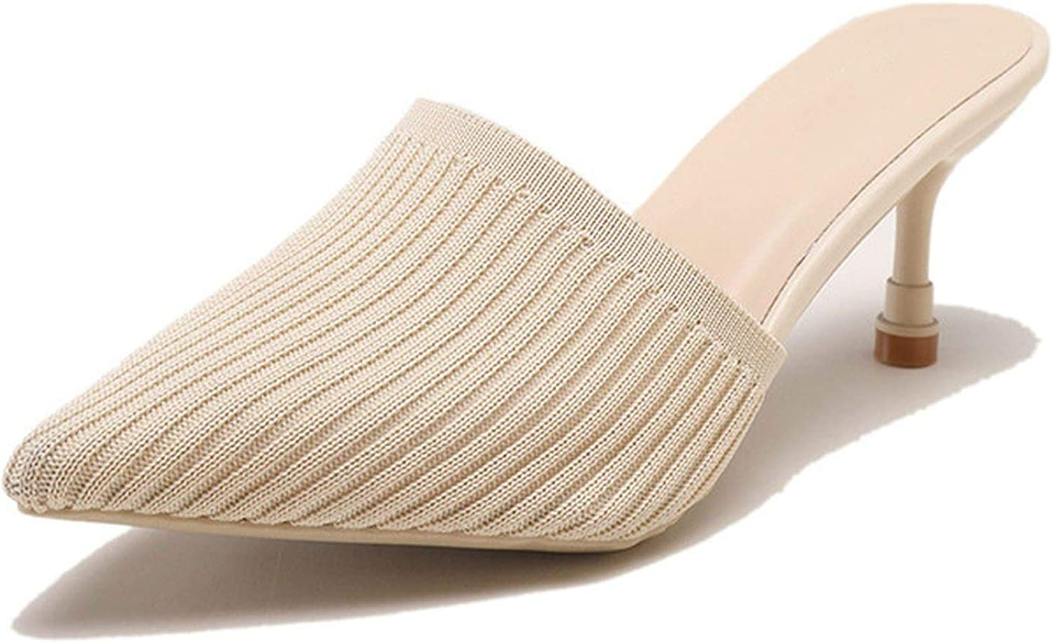 Monicas-Dream New Knitting Pointed Toe Fashion Women Female Slides High-Heeled Mules Loafers Casual Slipper
