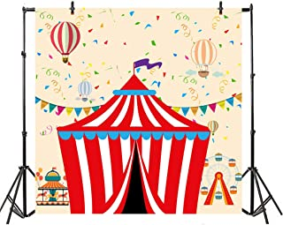 Leyiyi 5x5ft Cartoon Circus Photography Background Vintage Banner Red and White Striped Tents Hot Air Ballons Ferris Wheel Backdrop Kids Birthday Baby Shower 1st B Day Photo Portrait Vinyl Studio Prop