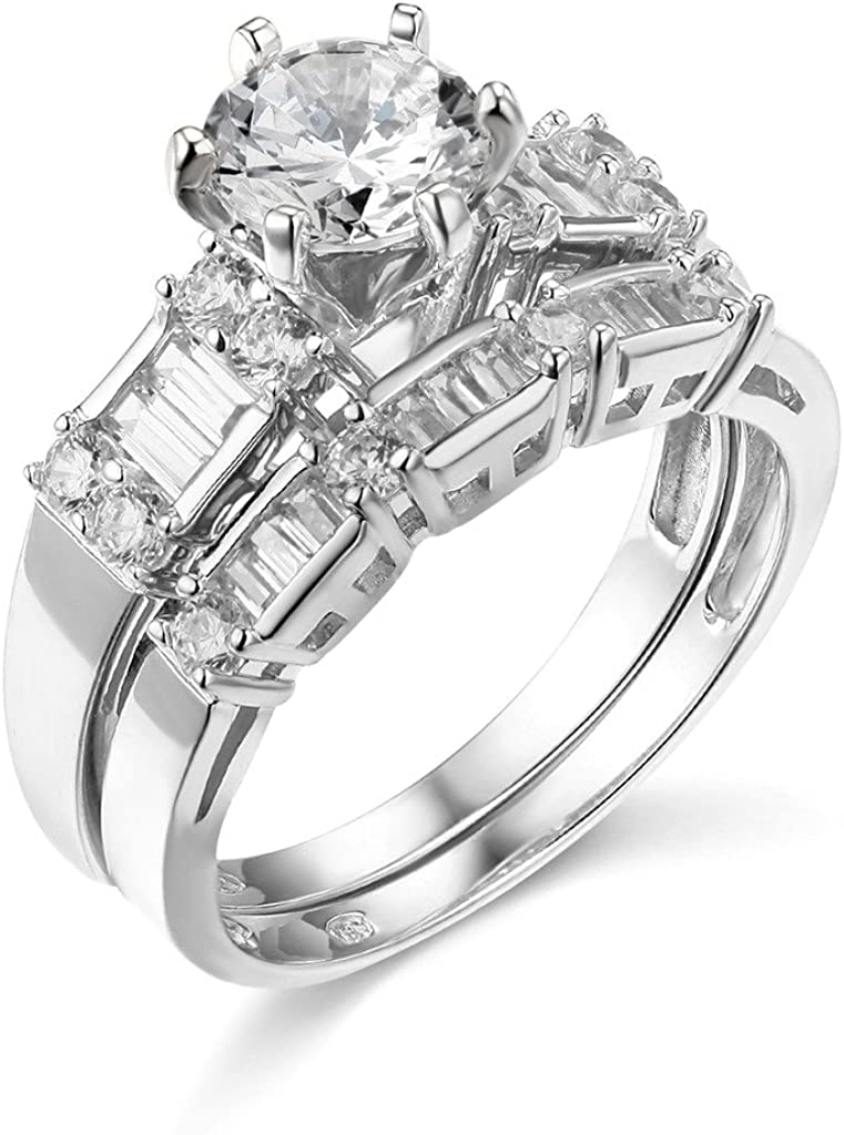 The World Jewelry Center .925 Long-awaited Sterling Plated Rhodium Wed Boston Mall Silver