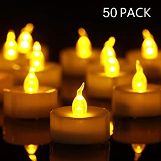 Antizer Tea Lights, 50 Pack Flameless LED Tea Lights Candles Flickering Warm Yellow 100+ Hours Battery-Powered Tealight Candle. Ideal for Party, Wedding, Birthday, Gifts and Home Decoration