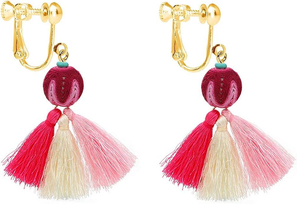 Bohemian Tassel Clip on Earring Colorful Thread Bead Jewelry Dangle Long Fan Drop for Women