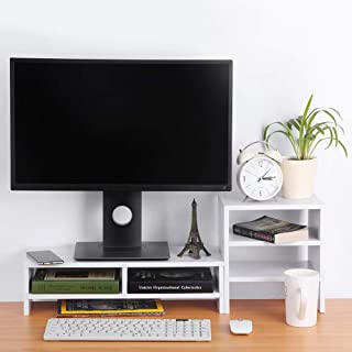 Computer Monitor Stand, 3-Layer Shelf Laptop Monitor Riser Stand Desktop Wooden Storage Organizer for Home Office(White)