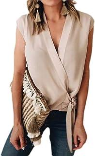 MK988 Women's Basic Sleeveless Wrap Casual V Neck Chiffon Tie Knot Blouse Shirt Tops