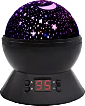 Baby Night Light, DCAUT Rotating Star Moon Projector Night Lamp with Timer Auto Shut Off Colour Change Bedside lamp for Ki...