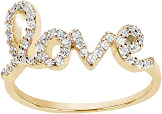Cubic Zirconia Love in Script Ring Sterling Silver (Color Options, Sizes 3-15)