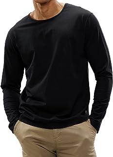 MIER Men's Long Sleeve Crewneck Cotton Tshirts Drop Cut Basic Casual Soft Tee Shirt with Curved Hem